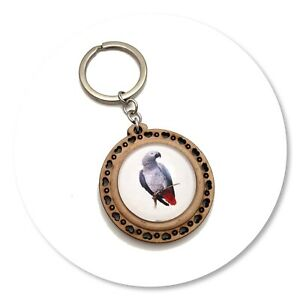 African Grey Parrot Wooden  keyring key ring grey bird