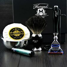 Deluxe 6 Piece Men's Shaving Set ft 5 Edge Cartridge & Pure Black Badger Brush
