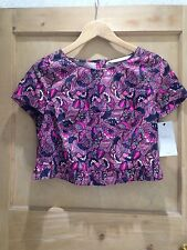Crew Neck Party Cap Sleeve Floral Tops & Shirts for Women