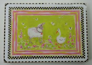4 New In Box Mackenzie-Childs Toddler Placemats Pink Set Fruit Lamb Duck