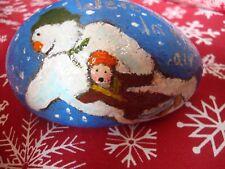 The Snowman pebble art - hand painted stone, stocking filler, Christmas art