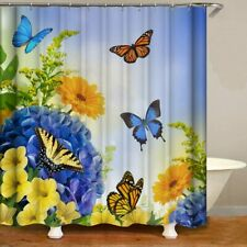 Blue Yellow Butterfly Flower Floral Boho Farmhouse Pretty Fabric Shower Curtain