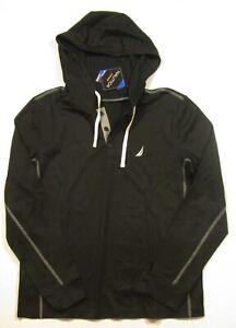 Nautica Sleepwear Men's True Black Long Sleeve Henley Hooded Shirt