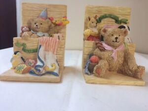 "Teddy Bear ""Bears Toy Chest"" Ceramic Book Ends Child's Room Nursery Ornaments"