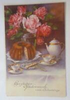 Geburtstag, Stillleben, Rosen, Kaffee, Kuchen, 1930 ♥ (3477)