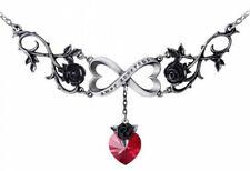 Alchemy Inglaterra-Infinito Amor Collar, Rosas, Hermoso Negro Gótico, Estaño