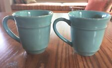 2 POTTERY BARN Bluish Green Coffee Cups Mugs Made In Portugal
