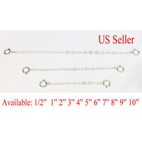 """Solid Sterling Silver Extender Safety Chain Necklace Bracelet lock 1 - 24"""" inch"""
