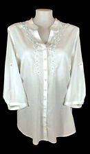 NWT AUTOGRAPH Top - White Button Cotton 3/4 Shirt Embroidered Blue Beaded - 22