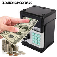 Black Digital Electric Piggy Bank ATM Machine Card Pin Coin Notes Money Saving