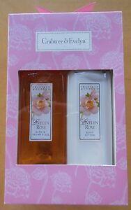 Crabtree & Evelyn Brand Evelyn Rose Scented Bath & Shower Gel + Body Lotion Set