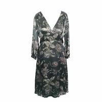 Jigsaw Brown Silk Floral Floaty Smart Occasion Party Fit & Flare Dress Size 12
