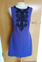 Ladies MONSOON Dress Size 10 Purple Black Embellished Smart Evening Party