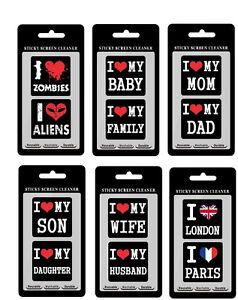 """Clean Sticker """"I love"""" schwarz Display Handy Tablet Phone putzen sauber reinigen"""
