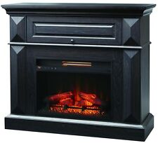 42 in. Black Electric Fireplace TV Stand Media Center Console Mantel Heater Wood