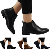 New Womens Ladies Flat Pull On Low Heel Elastic Chelsea Office Ankle Boots Size