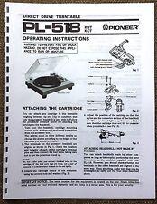 Pioneer PL-518 Turntable Owners Manual