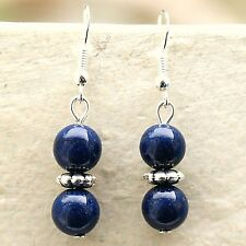 Lapis Lazuli Earrings with Sterling Silver Hooks New Gemstone Drops LB130