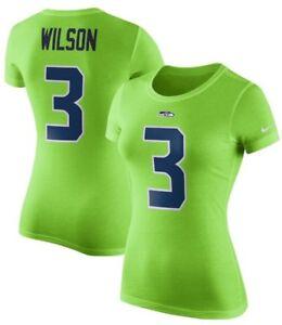 Nike Womens Seattle Seahawks Russell Wilson Player Pride Green T-shirt SZ XL NEW