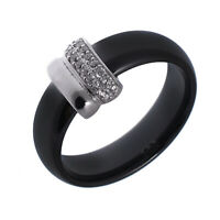 Damen Keramik Band Ring echt Silber 925 Sterling rhodiniert Zirkonia 62/19,7 mm