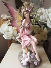 Fairyland Legends Pregnant Fairy Figurine with bunny rabbit 'Mother with child'