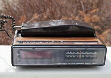 Vintage Digital Electronic Clock Radio Alarm Am/Fm Telephone 1970s Honic Wood