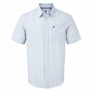 TOG 24 Mens Stripe Shirt Cotton Linen Navy Patch Pocket Samuel