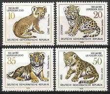 Germany (East) DDR GDR 1978 MNH - Centenary Leipzig Zoo Lion Leopard Tiger Cubs