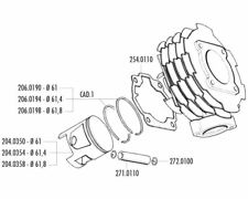 Piston Kit Polini 152ccm 61mm for Vespa T5 125 Classic