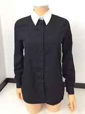 GIVENCHY Paris Chemise noire chemisier haut taille 36 UK 8 col blanc très bon état manches longues