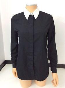 Givenchy Paris Black Shirt Blouse top  Size 36 Uk 8 White Collar Vgc Long Sleeve
