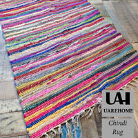 100% Recycled Cotton Handmade Mat Multi Coloured Chindi Floor Rag Rug