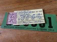 1953 State of Michigan Hunting License Back Tag & Migratory Bird Stamp