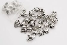 Lots Mixed 20x Tibet Silver FOX OWL DOG BIRD Big Hole Beads For Charms Bracelet
