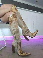 Gianmarco Lorenzi High Heel Leder Stiefel Boots Cowboy Style Spitz 37 Vero Cuoio