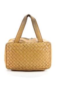 Bottega Veneta Womens Intrecciato Leather Mini Tote Handbag Natural Brown