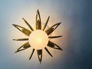 "HUGE ✨ 31"" MID CENTURY BRASS ATOMIC SUNBURST STARBURST RESTORED CEILING LIGHT"