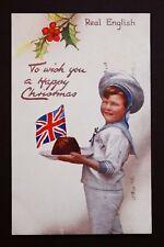 Raphael Tuck Postcard Christmas Pudding Union Jack Leytonstone London 1915 WW1