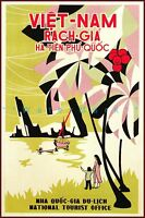 Vietnam Rach Gia National Tourist Office Vintage Poster Retro Style Travel Art