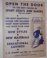 VINTAGE 1950s MEN'S SPORT COAT & SLACKS ADVERTISING BROCHURE WITH FABRIC SAMPLES