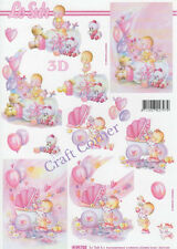 New Baby In Pink 3D Decoupage Sheet Card Making Paper Crafts *CUTTING REQUIRED*
