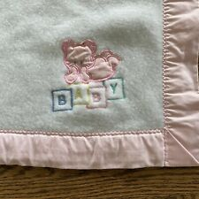 New listing Vintage Pink White Baby Blanket Cuddle Time Acrylic Bunny Teddy Bear binding