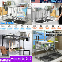 65/91CM Over Sink Dish Cutlery Drying Rack Stainless Steel Kitchen Shelf Drainer