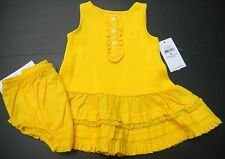 Ralph Lauren Infant Ruffled Tank dress w/bloomers sz 3 mos. ruffles NWT yellow