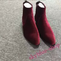 Hot sale Wine Red Mens real Suede Pointy Toe British Cuban Heel Ankle Boot Shoes
