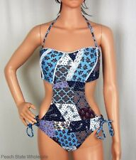 NWT Bar III Patchwork Lace Bandeau Monokini Bohemian Strapless Swimsuit Size L