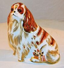 "~ ROYAL CROWN DERBY 22k Gold Trim KING CHARLES CAVALIER SPANIEL Paperweight 4"" ~"