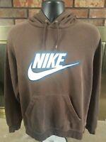 Vintage Nike RAGLAN Hooded Sweatshirt Mens Size Medium Brown Swoosh Logo RARE
