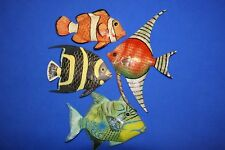 "(4) Florida Room Lanai Tropical Fish Coral Reef Colorful Wall Hangings, 6"" each"