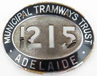 .VINTAGE ADELAIDE MUNICIPAL TRAMWAYS TRUST LARGE BADGE. No. 1215. 6.3CMS WIDE